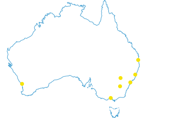 Map of Australia with marker locations for Brisbane, Newcastle, Sydney, Orange, Canberra and Perth