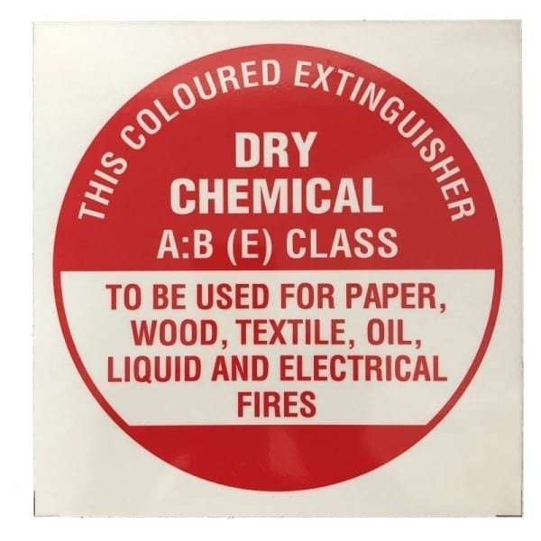 dry chemical fire extinguisher id disc sign