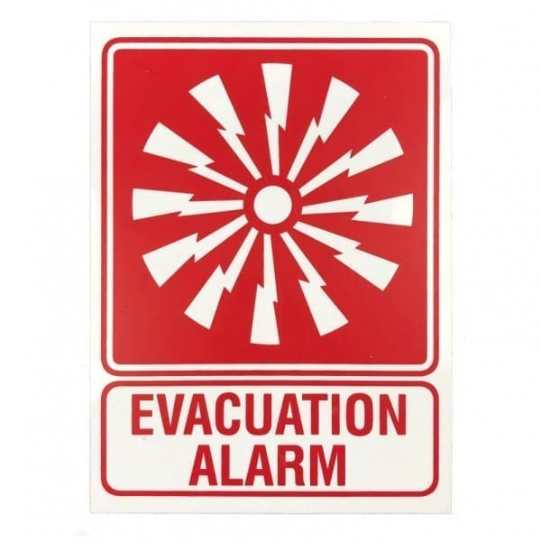 evacuation alarm location sign