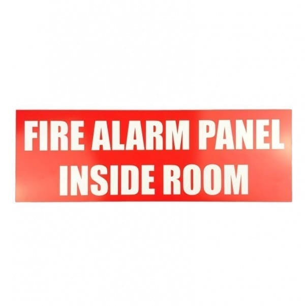 fire alarm panel inside room sign