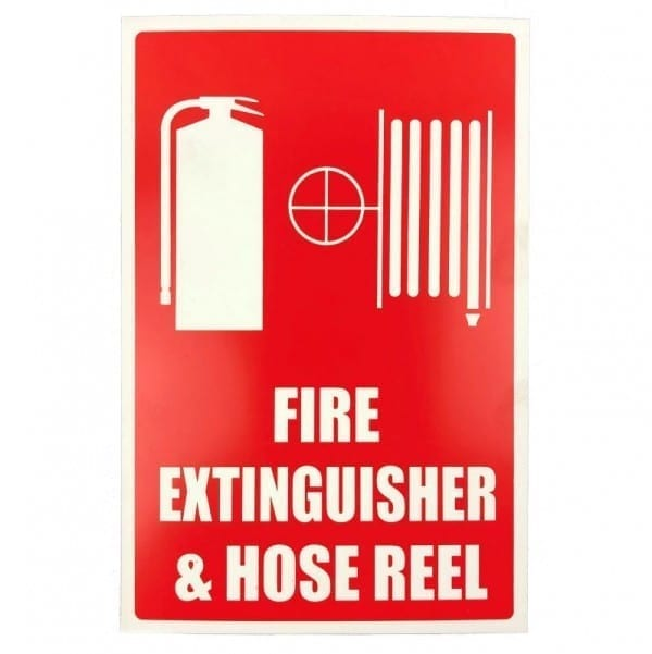 fire extinguisher and hose reel location sign