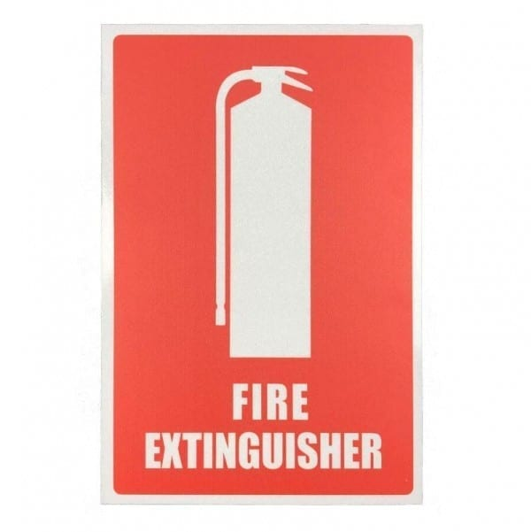 reflective fire extinguisher location sign