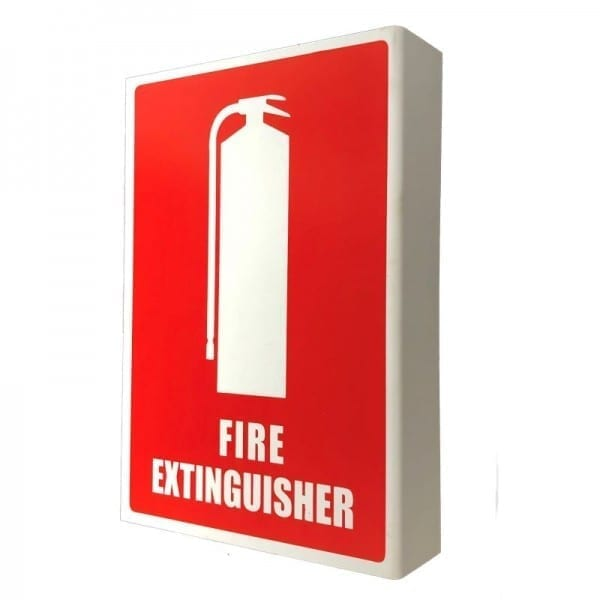 fire extinguisher location sign right angle