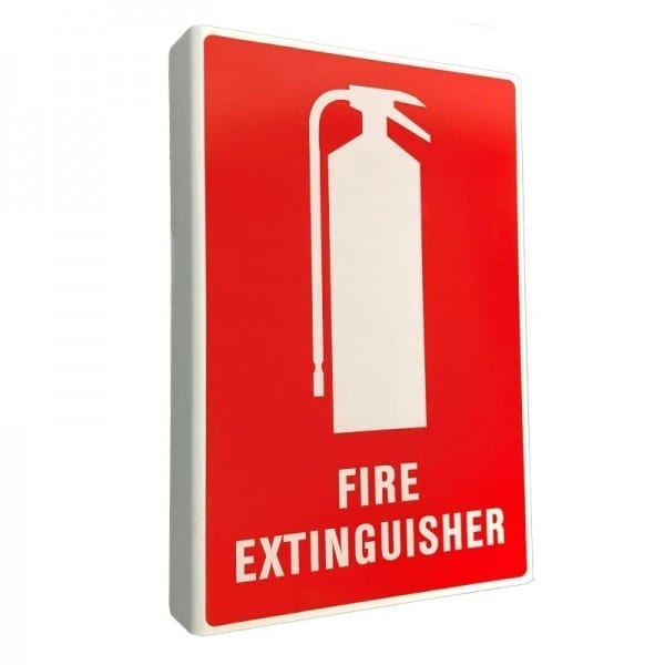 fire extinguisher location sign reflective right angle