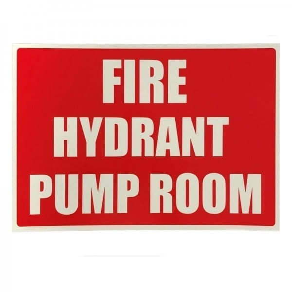 fire hydrant pump room sign