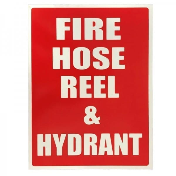 fire hose reel and hydrant location sign