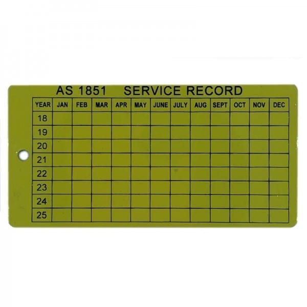 AS1851 service tag steel