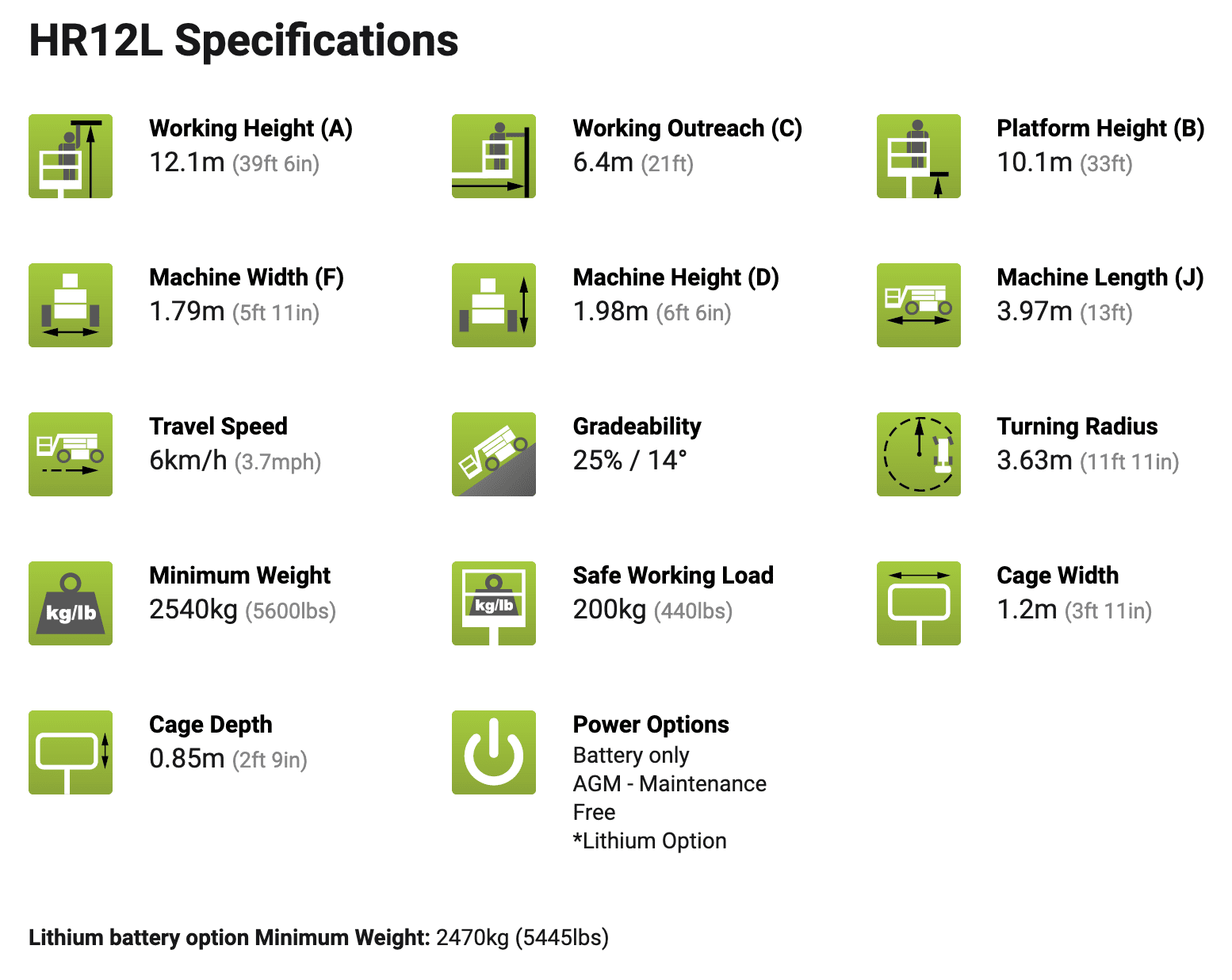 specifications HR12L