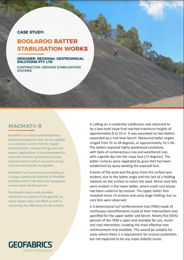 Boolaroo Batter Stabilisation Works Case Study