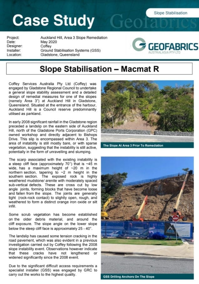 Macmat R - Slope Stabilisation Case Study