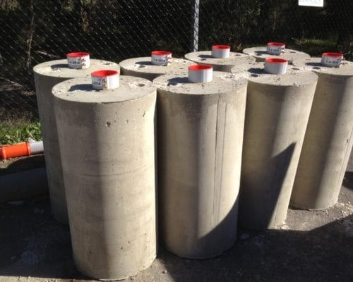 SLV114, Pre cast footings for frangible pole installations
