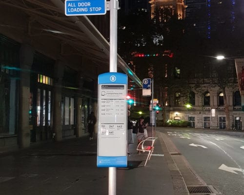 The frangible pole in Sydney on the new solar-powered e-bus stops. Here at QVB.