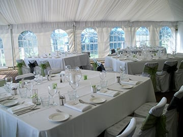 marquee wedding caterforce table settings