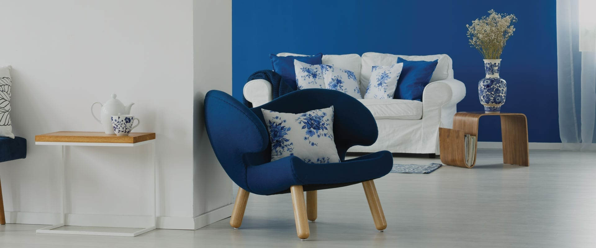 Blue and white room showing off colour selection