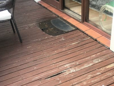 Old timver deck damaged and worn