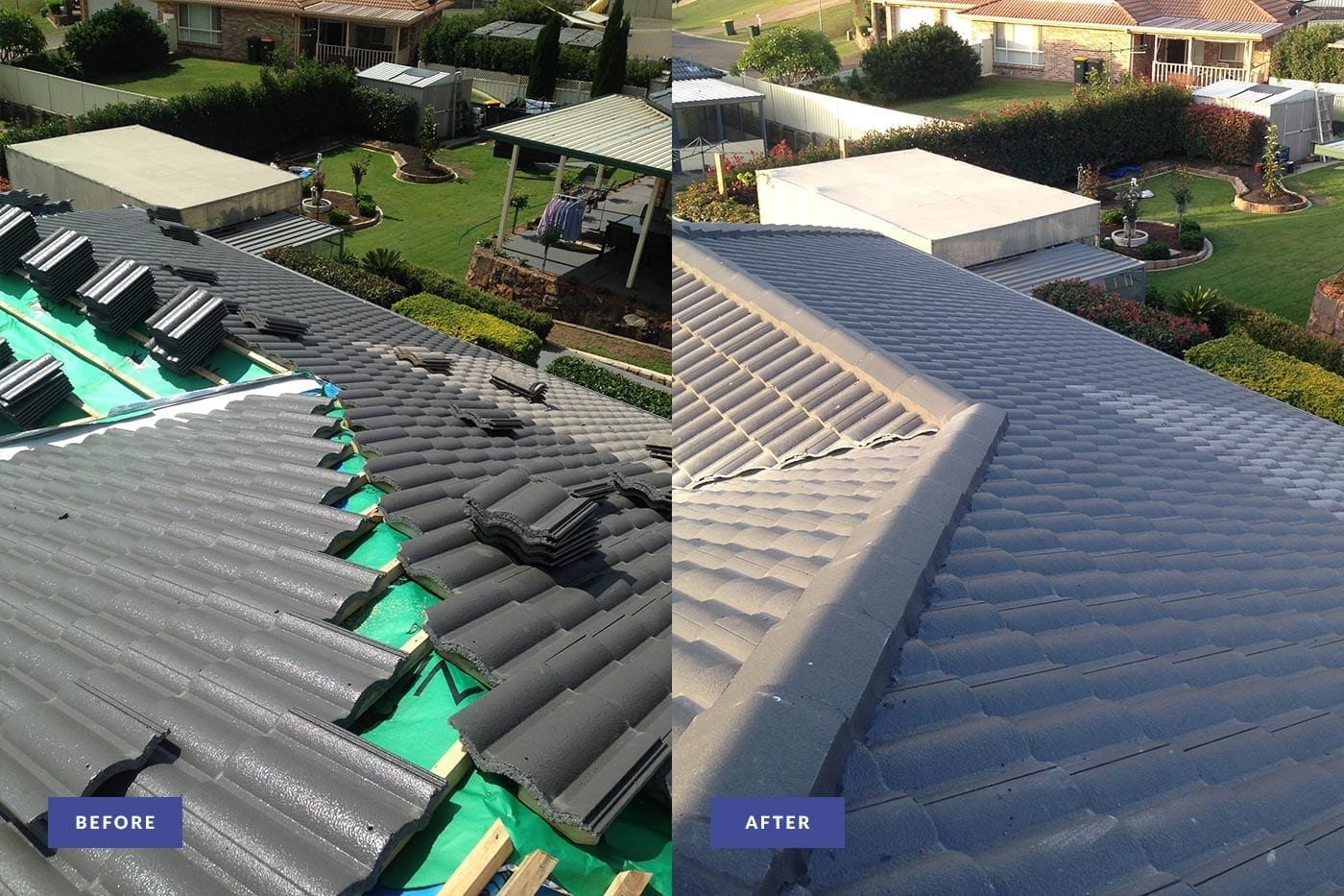 tiled roof repair before and after