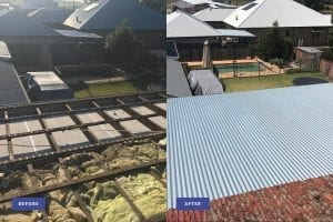 metal roof repair before and after