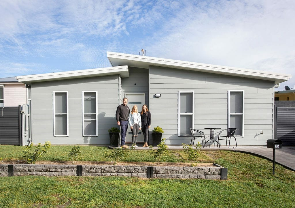 Josh and Courtney outside their first granny flat