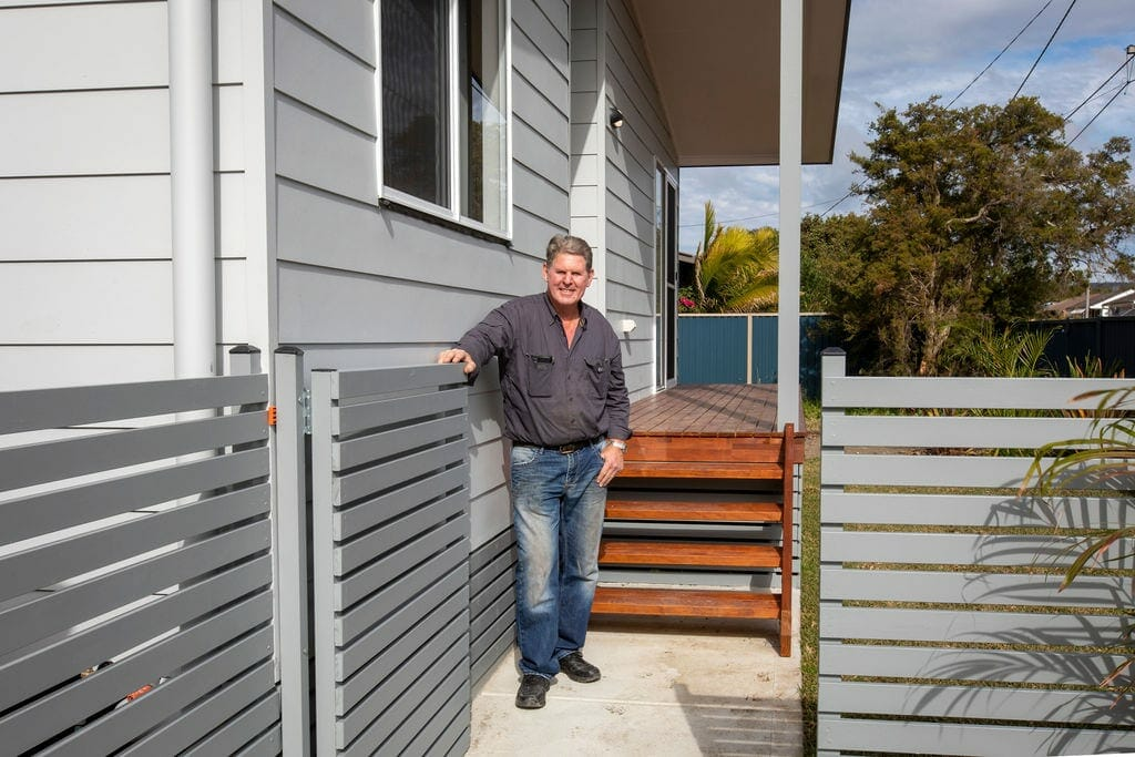 Tony infront of his Killarney Vale granny flat
