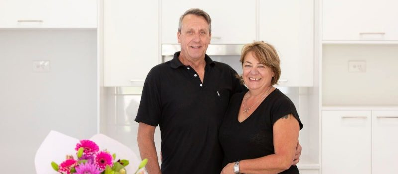 happy couple in two bedroom granny flat