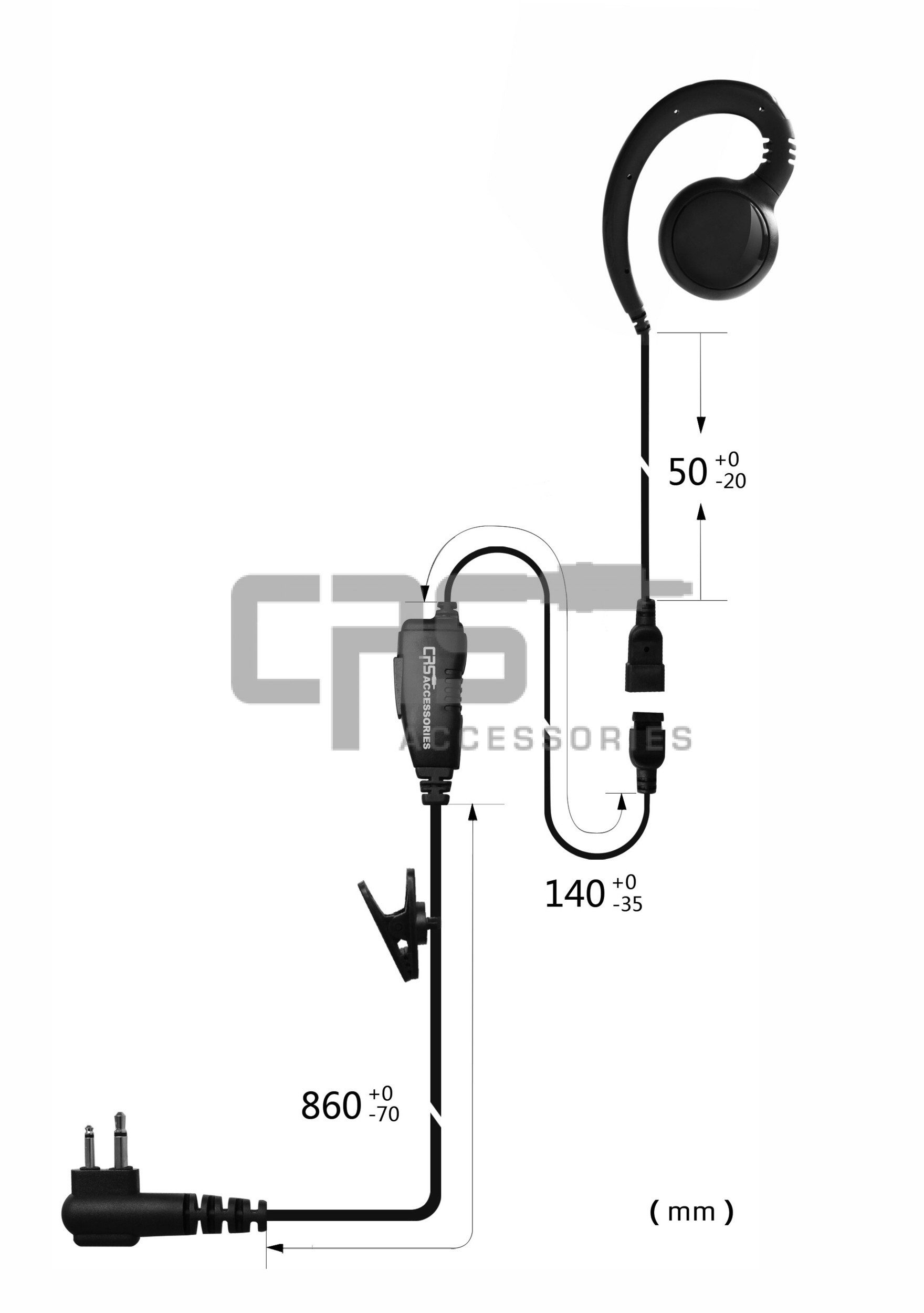 CRS 1 Wire Ghook Earpiece with Inline PTT/MIC to suit Hytera PD-700 Series  Multipin