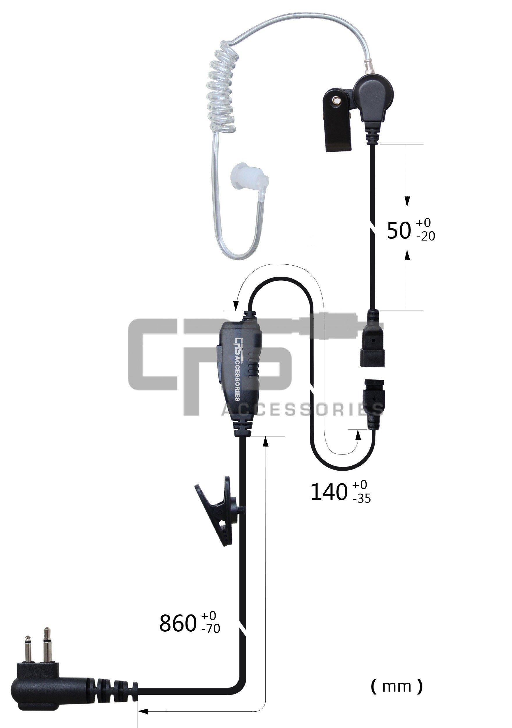 CRS Single Wire Long Acoustic Tube/Inline PTT Kenwood 2 Pin