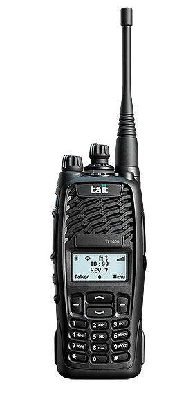 Tait TP9400 Portable P25 4/16 Key (specify) 1500CH VHF/UHF inc antenna, battery & belt clip